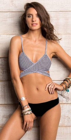 Beach Bunny Emerson Bralette in Navy and White B18138T0-NVWS