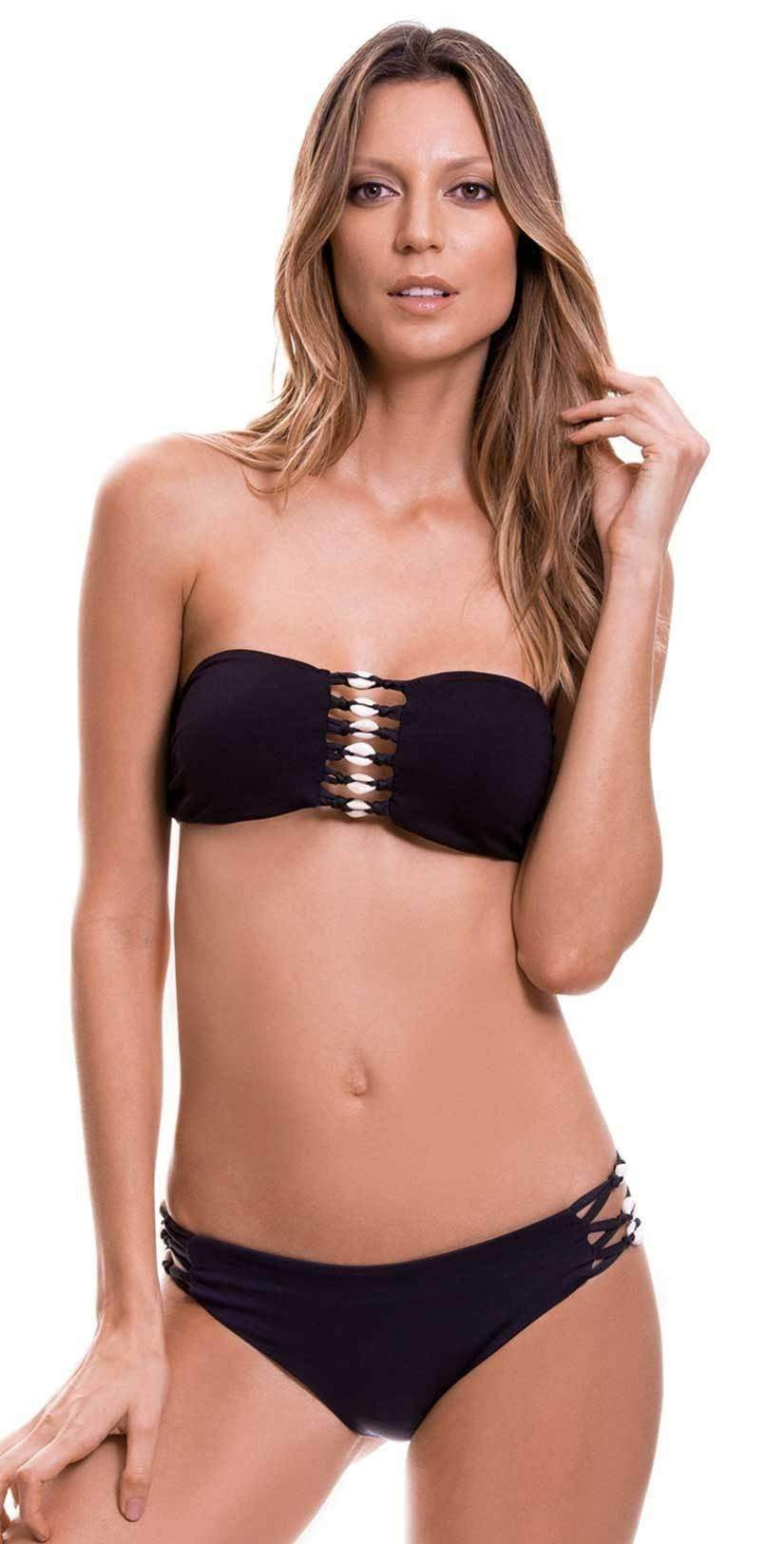 Milonga Shell Bandeau Top in Basic Black 069: