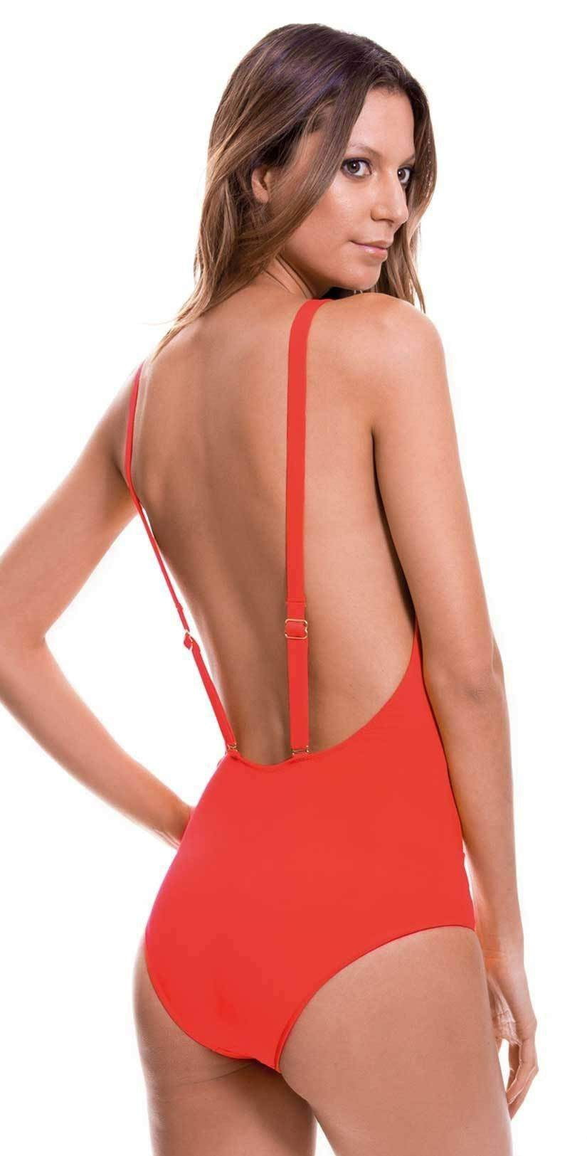 Milonga Shell Cutout One Piece in Red 070: