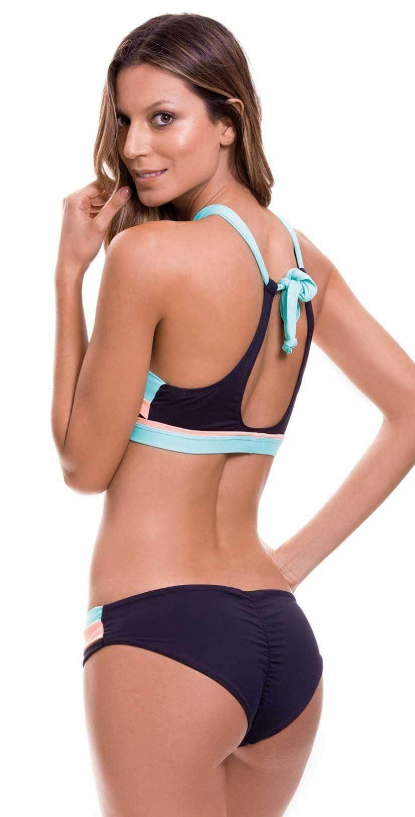 Milonga Color Block Hipster Bottom in Aqua 074: