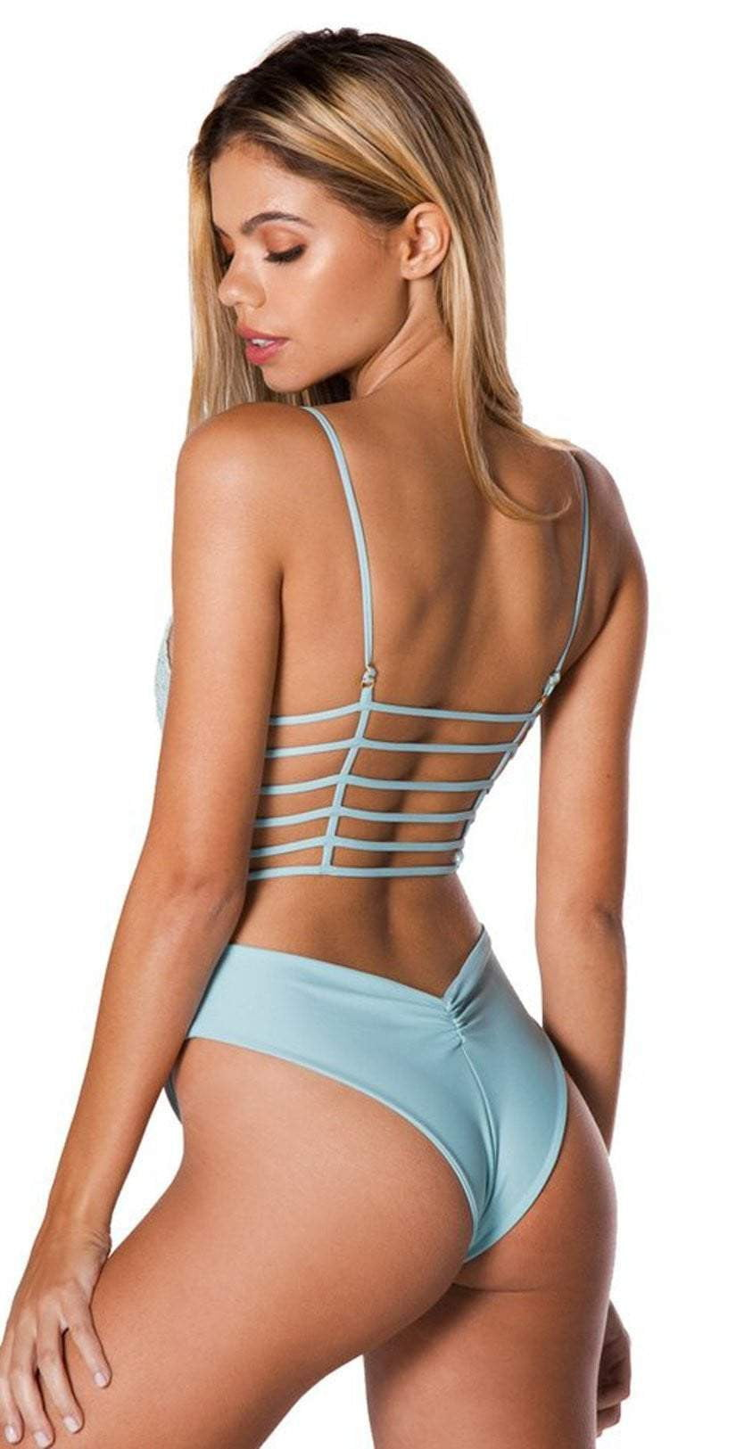 Montce Crochet Caged One Piece in Aqua Marine: