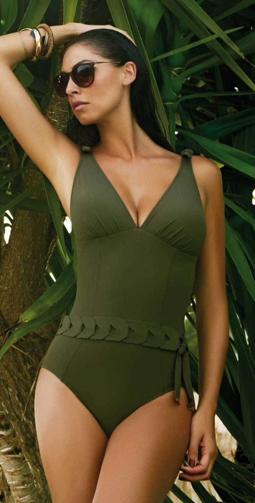 Nuria Ferrer Bruna Khaki Belted swimsuit