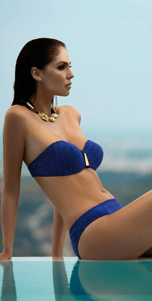 Nuria Ferrer Viena Bandeau bikini lifestyle view of side and front of top and bottom in royal blue