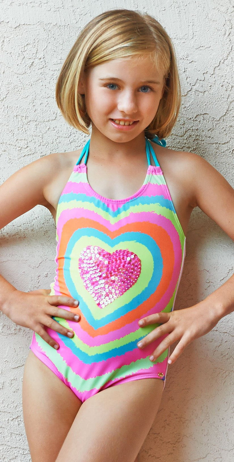 PilyQ Girls Neon Heart embroidered One Piece NEH-606P: