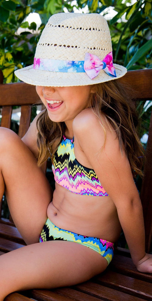 PilyQ Girl's Clara High Neck Bikini Set CLA-822B front lifestyle