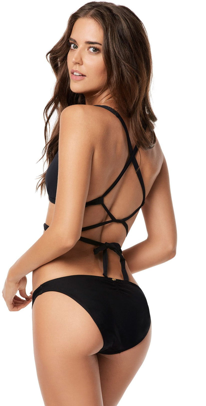 PilyQ Midnight Basic Ruched Teeny Bottom back