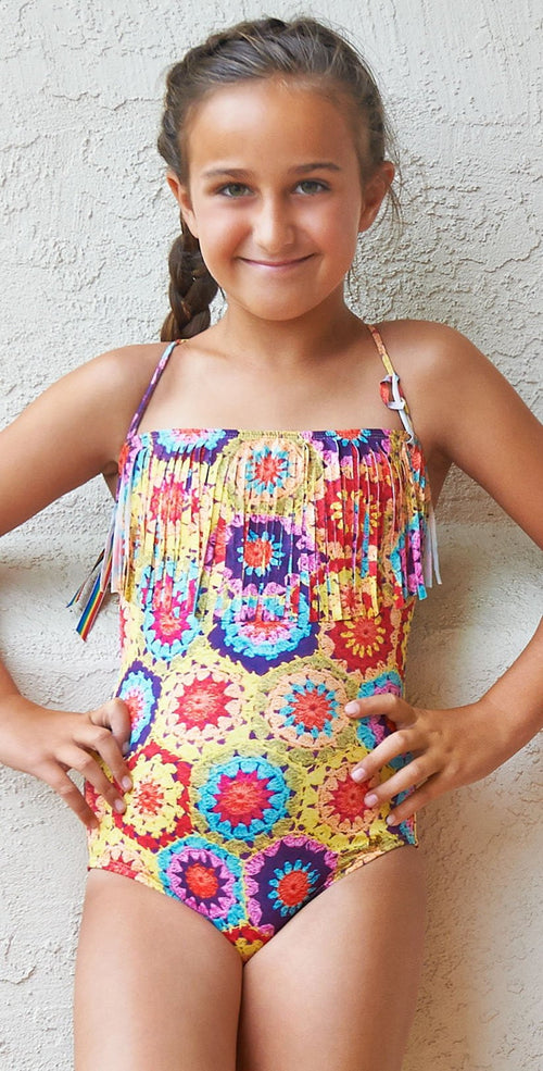 PilyQ Girls Crochet Fun Fringe Bandeau One Piece CRO-621P front lifestyle