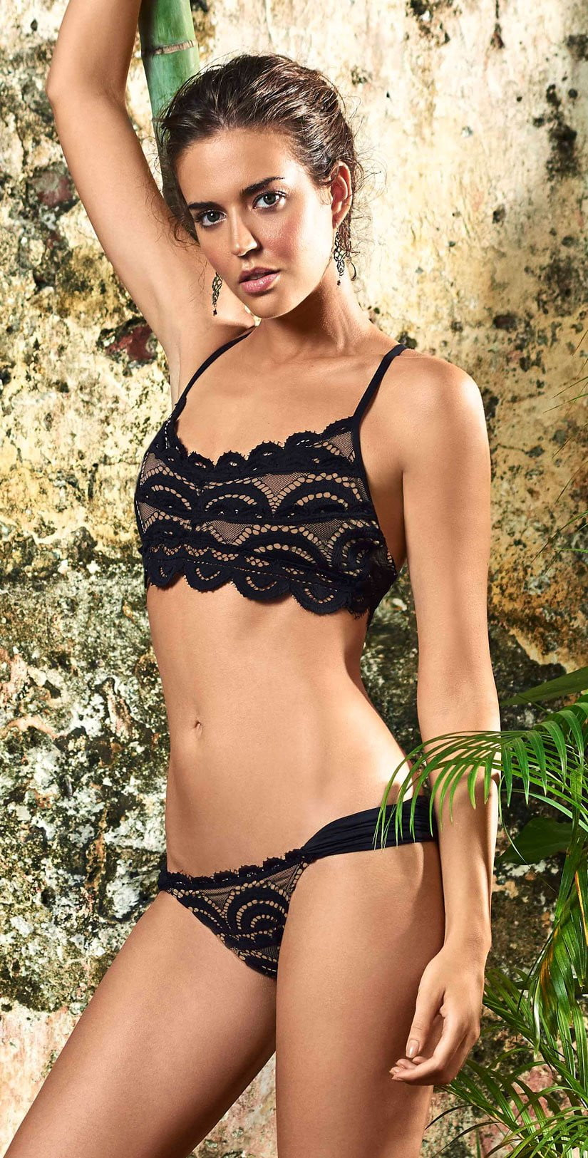PilyQ Midnight Gold Lace Fanned Teeny Bottom MID-251T front lifestyle