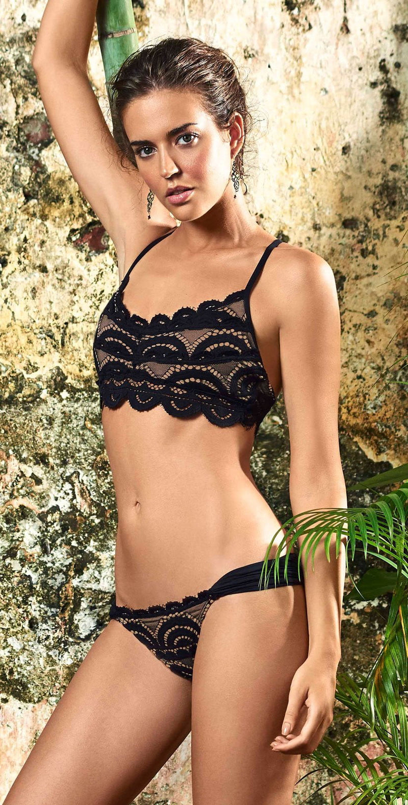 PilyQ Midnight Lace Fanned Teeny Bottom front