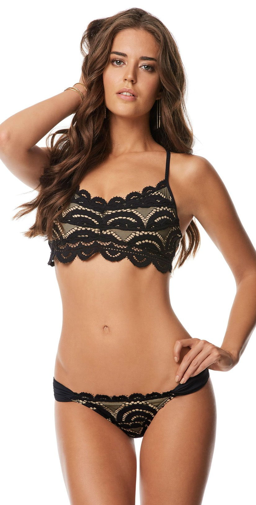 PilyQ Midnight Gold Lace Fanned Teeny Bottom MID-251T front studio