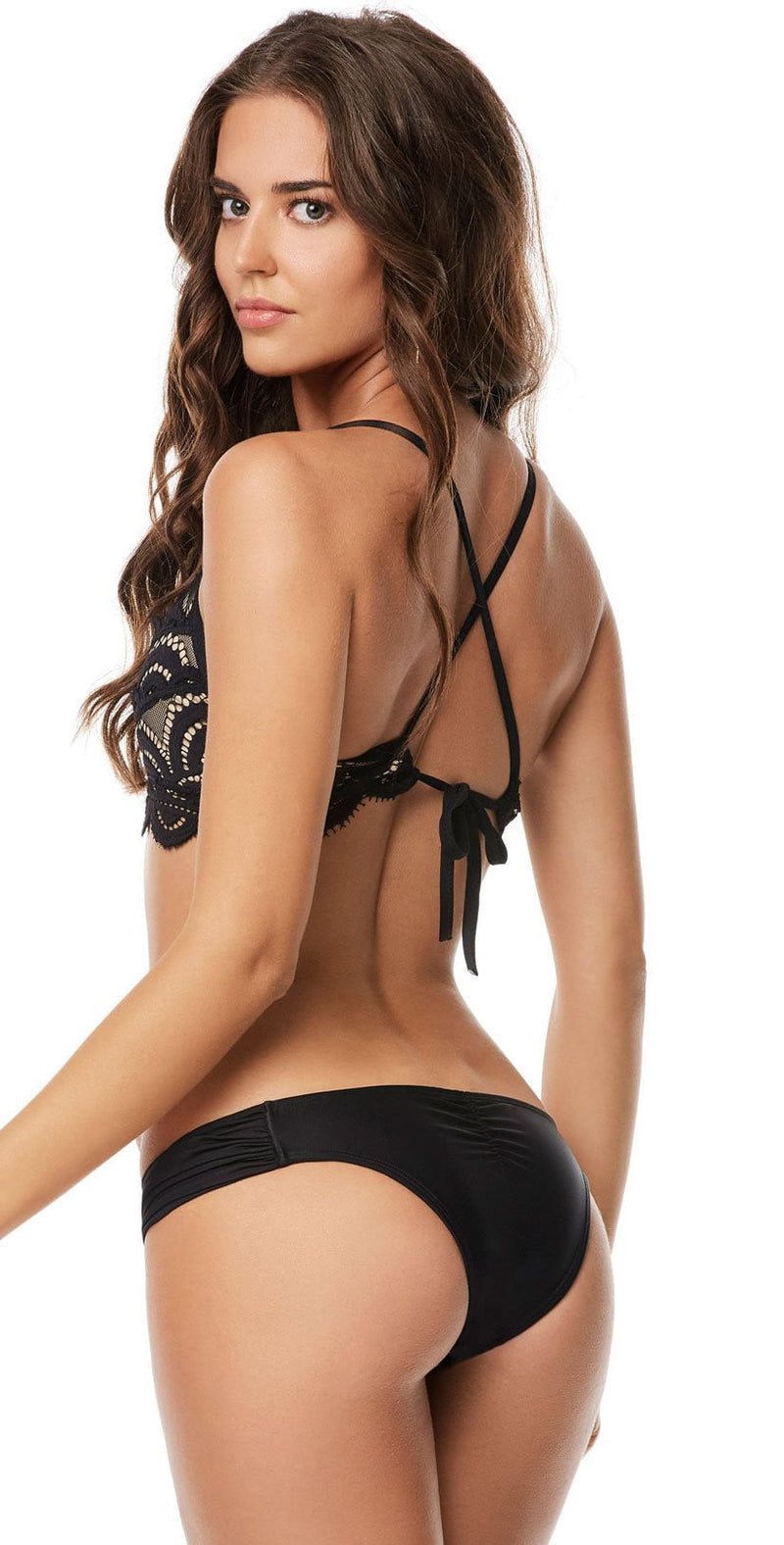 PilyQ Midnight Lace Fanned Teeny Bottom back