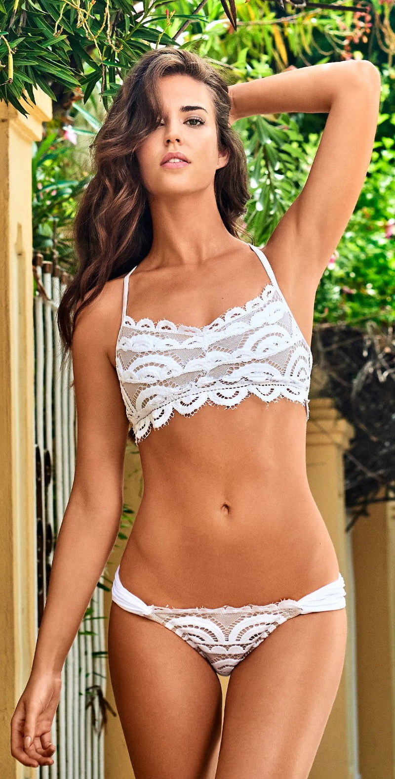PilyQ Water Lily Lace Bralette Top in White WAT-131B: