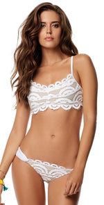 PilyQ Water Lily Lace Teeny Bottom in White WAT-251T: