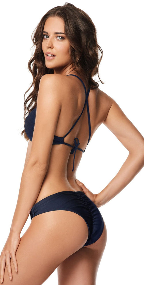 PilyQ Atlantis Basic Ruched Navy Teeny Bottom ATL-211T Back View