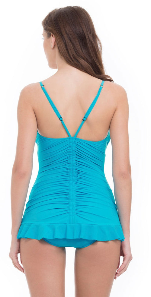 Profile by Gottex Swan Lake Skirted One Piece in Blue E740-2D65-430 Back View