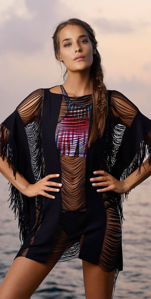 PilyQ Black Gold Monique Cover Up BKG-427T front lifestyle