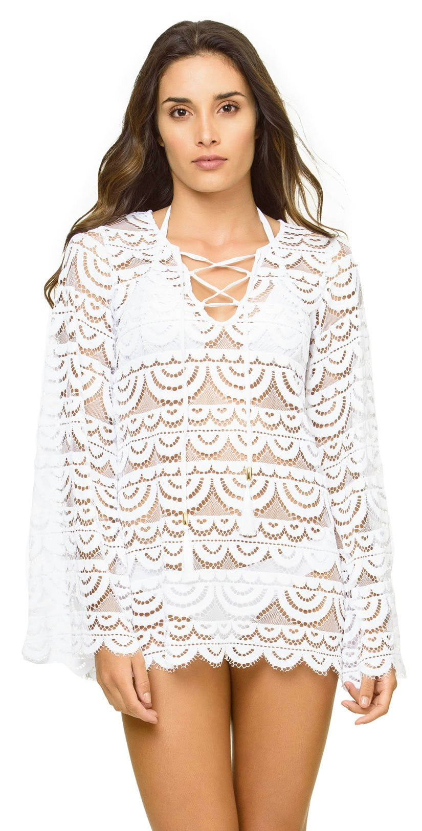 PilyQ Water Lily Noah Tunic in White WAT-445D: