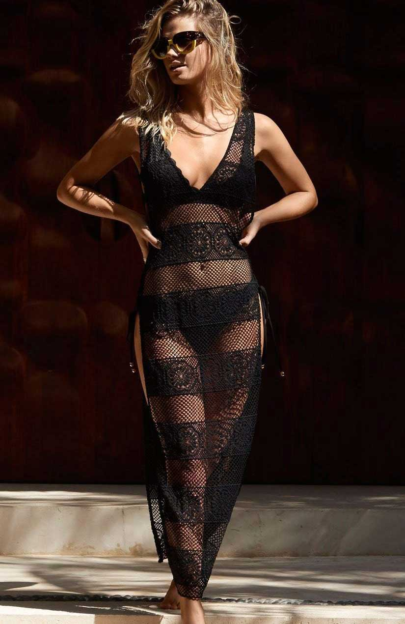 PilyQ Joy Lace Cover Up in Midnight MID 965D