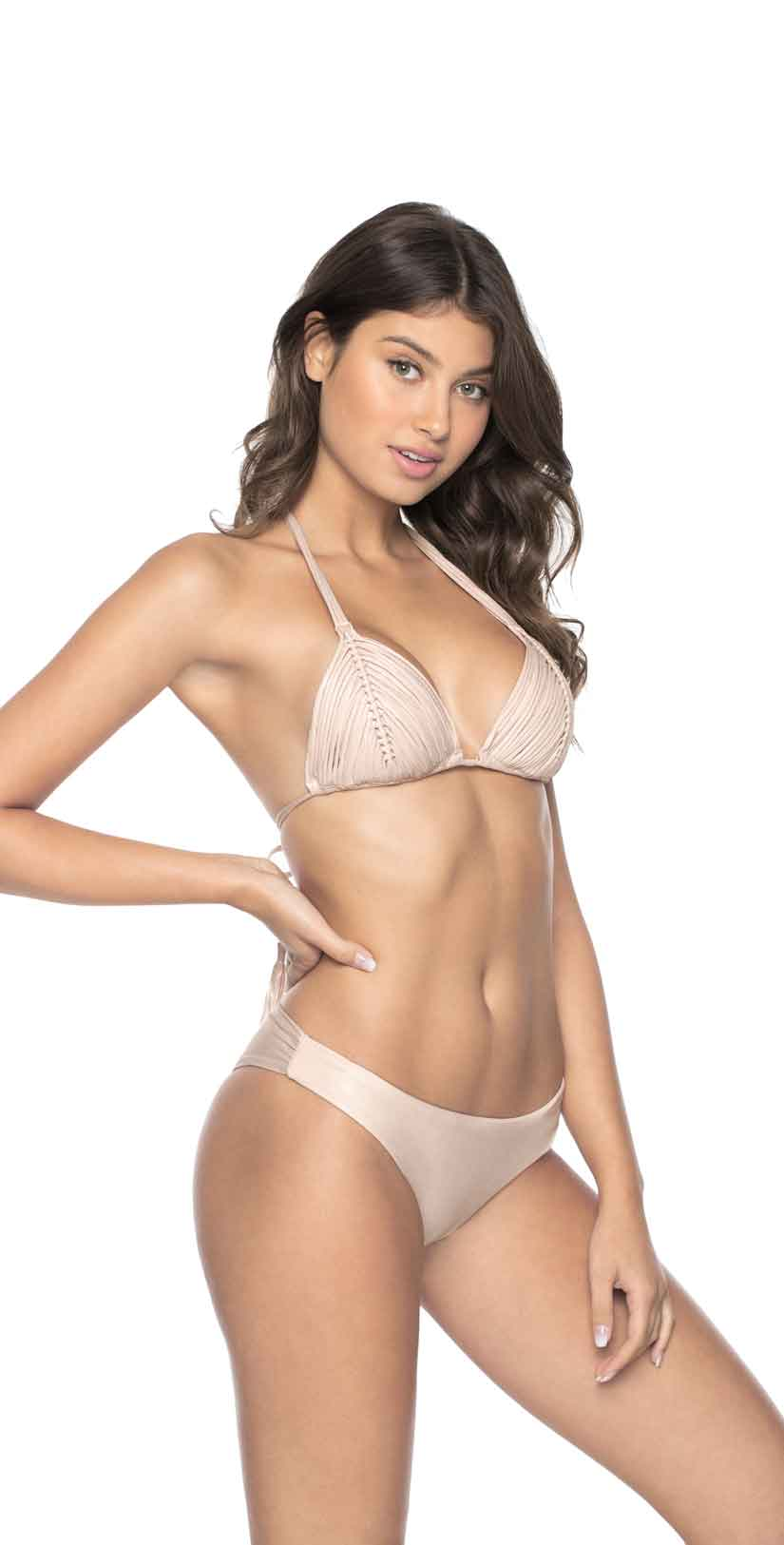 PilyQ Seashell Basic Ruched Teeny Bottom front