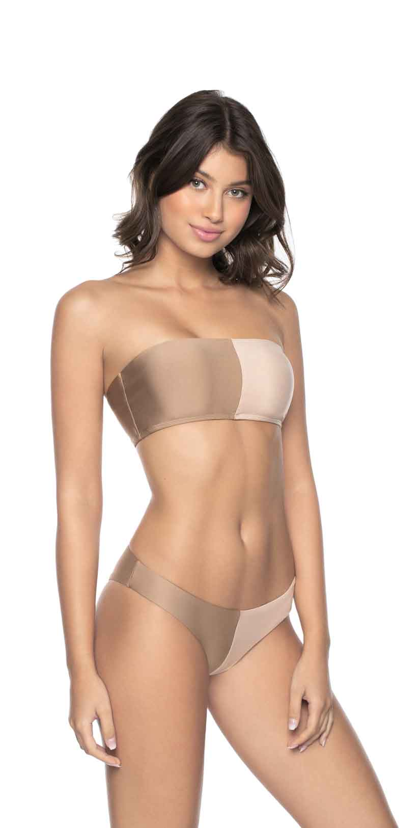 PilyQ Sandstone Two Tone Bandeau Top front