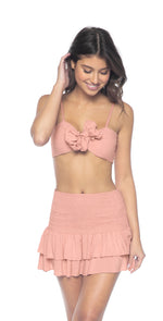 PilyQ Dusty Rose Cleo Smocked Skirt front