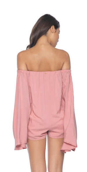 PilyQ Dusty Rose Andi Romper back