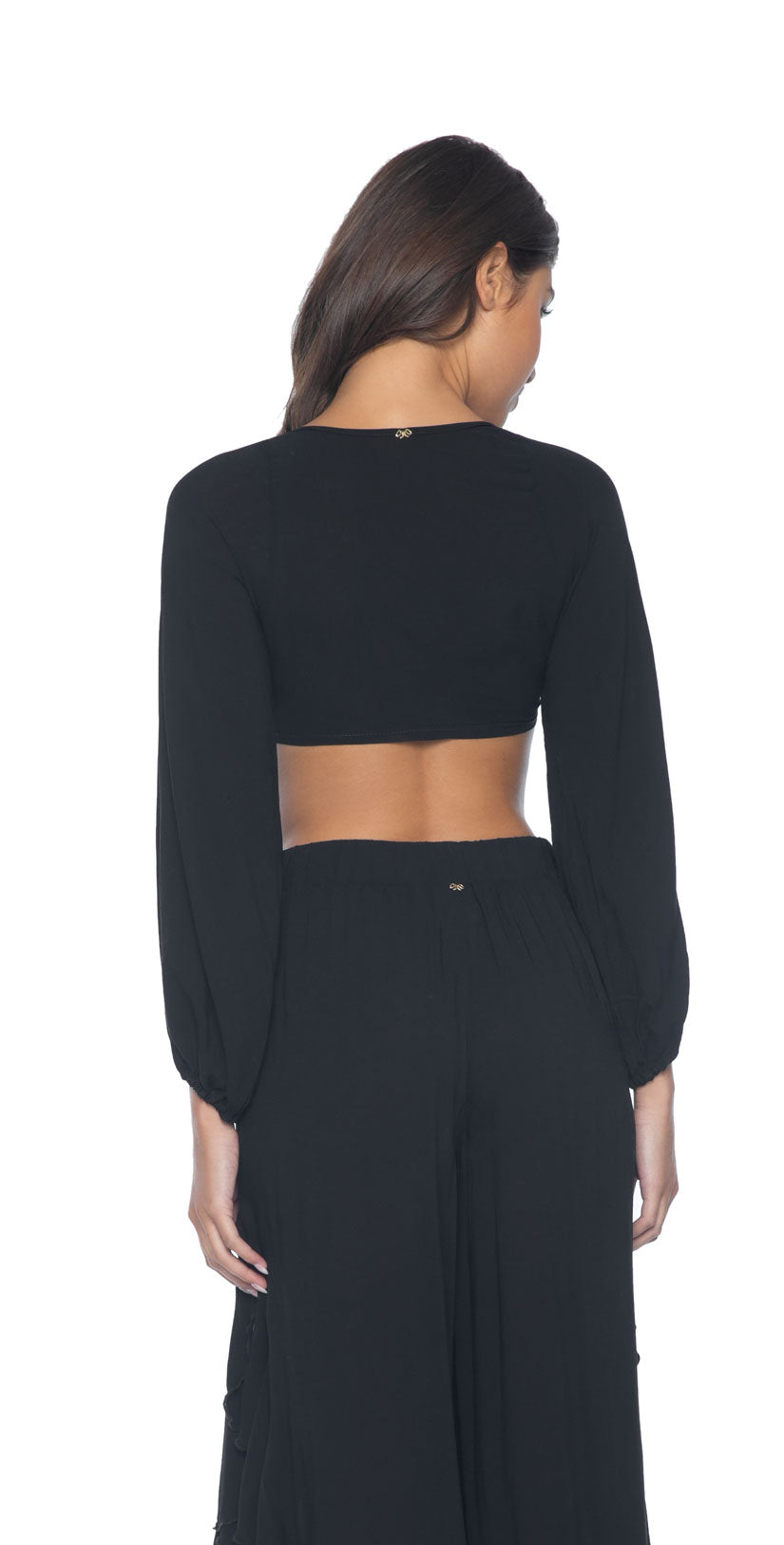 The PilyQ Midnight Halsey Tie Top back