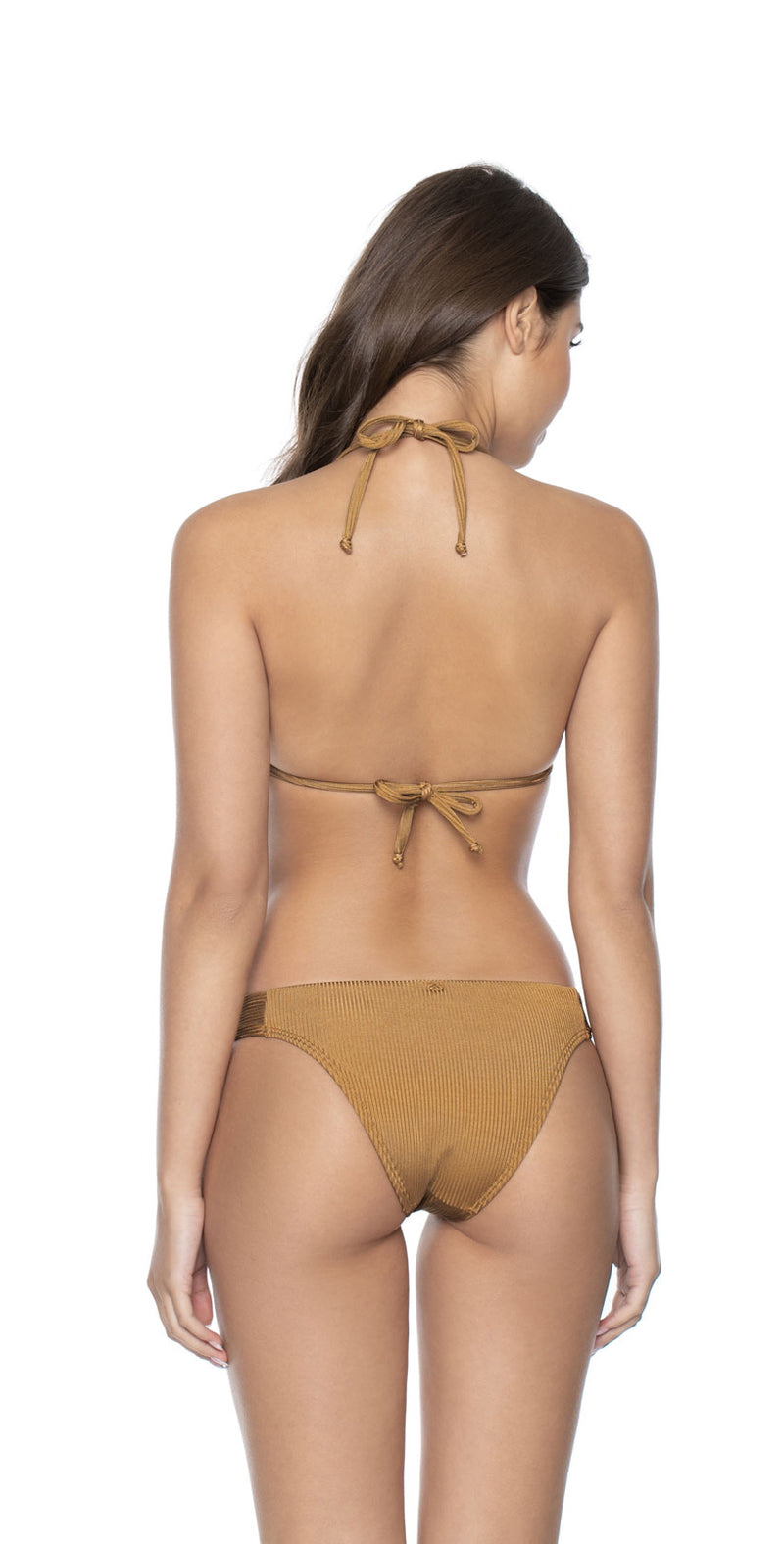 PilyQ Gold Pearl Triangle Top back