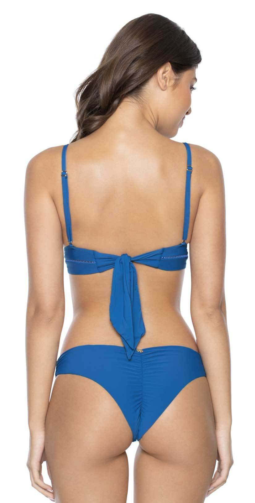 PilyQ Island Blue Basic Ruched Teeny Bikini Bottom: