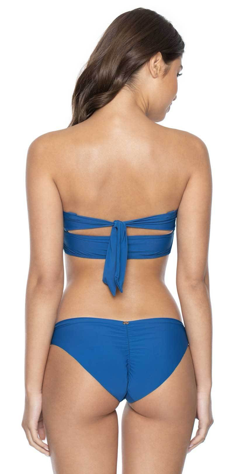 PilyQ Island Blue Basic Ruched Full Cut Bikini Bottom: