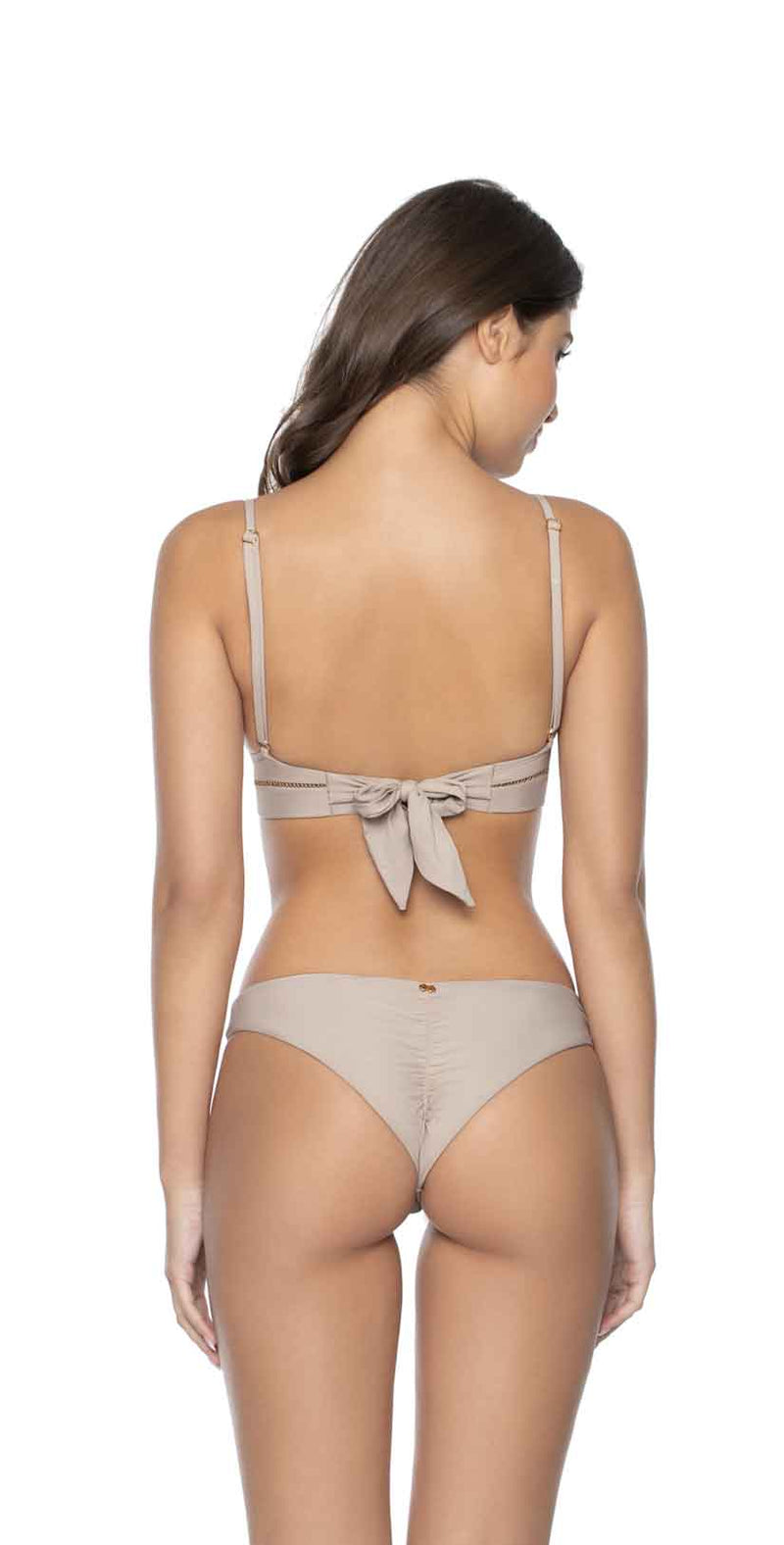 PilyQ Oyster Stitched Kylie Halter Bikini Top  back