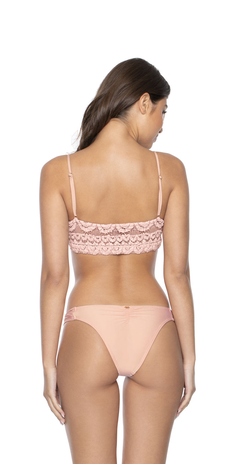 PilyQ Pink Sand Sweetheart Lace Bralette  back