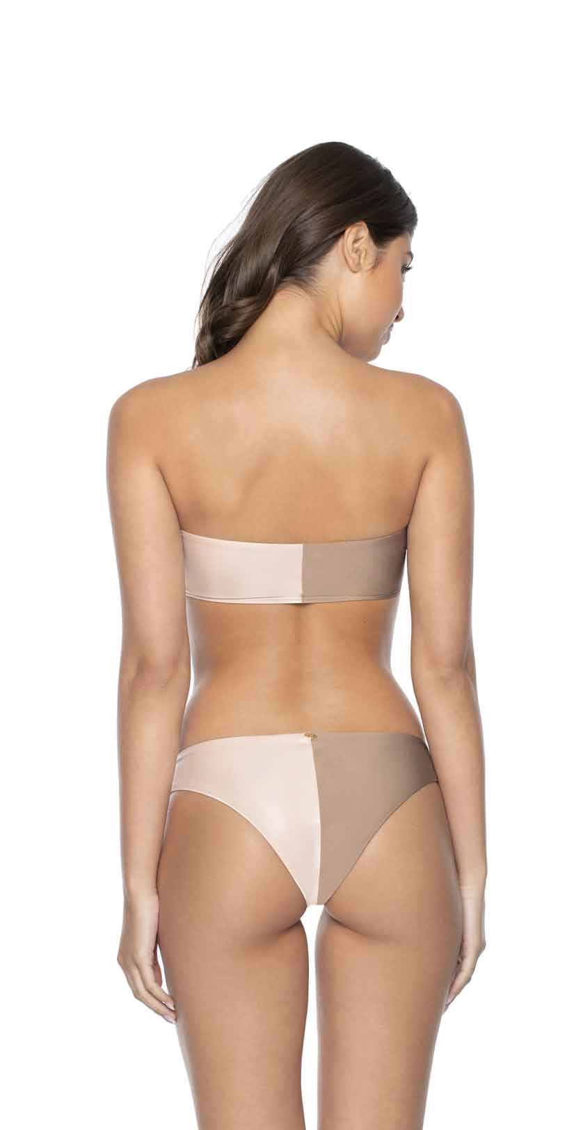 PilyQ Sandstone Two Tone Bandeau Top back