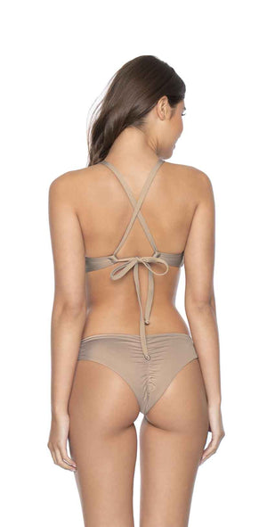 PilyQ Sandstone Basic Ruched Teeny Bottom back