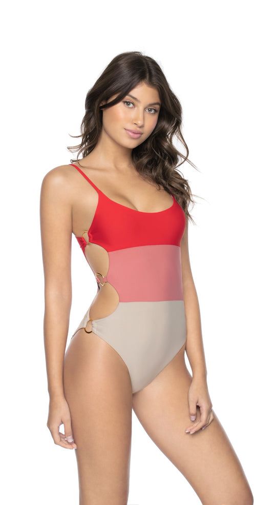 PilyQ Red Coral Ring Side One Piece Swimsuit REC-562P