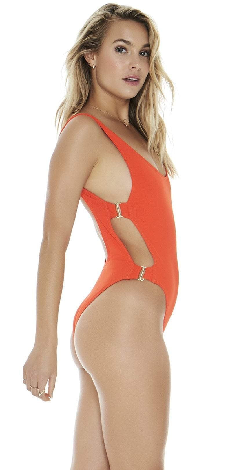 L Space Mayra One-Piece in Poppy RHMYMC18-POP side view of suit on model