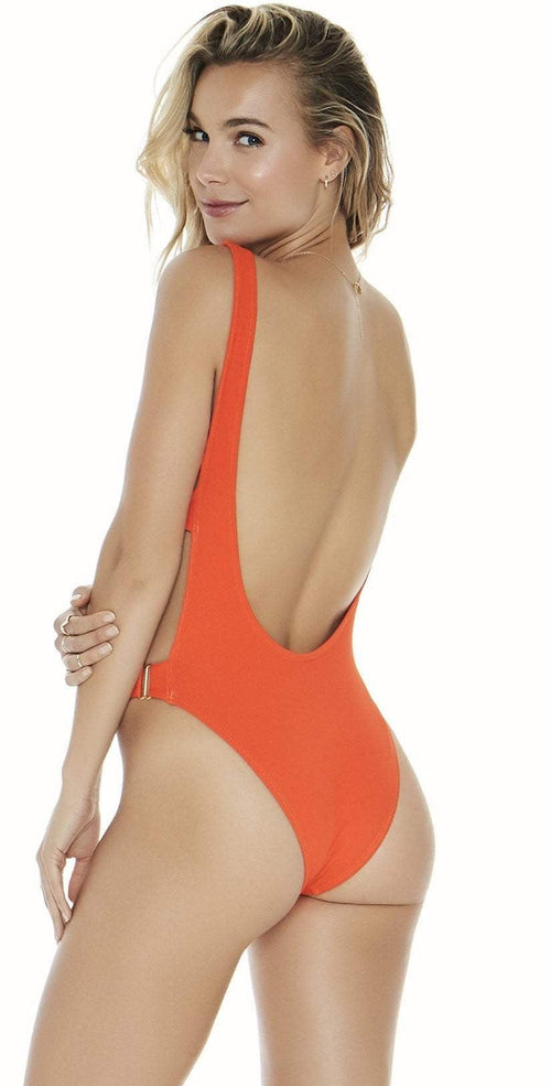 L Space Mayra One-Piece in Poppy RHMYMC18-POP back view of suit on model
