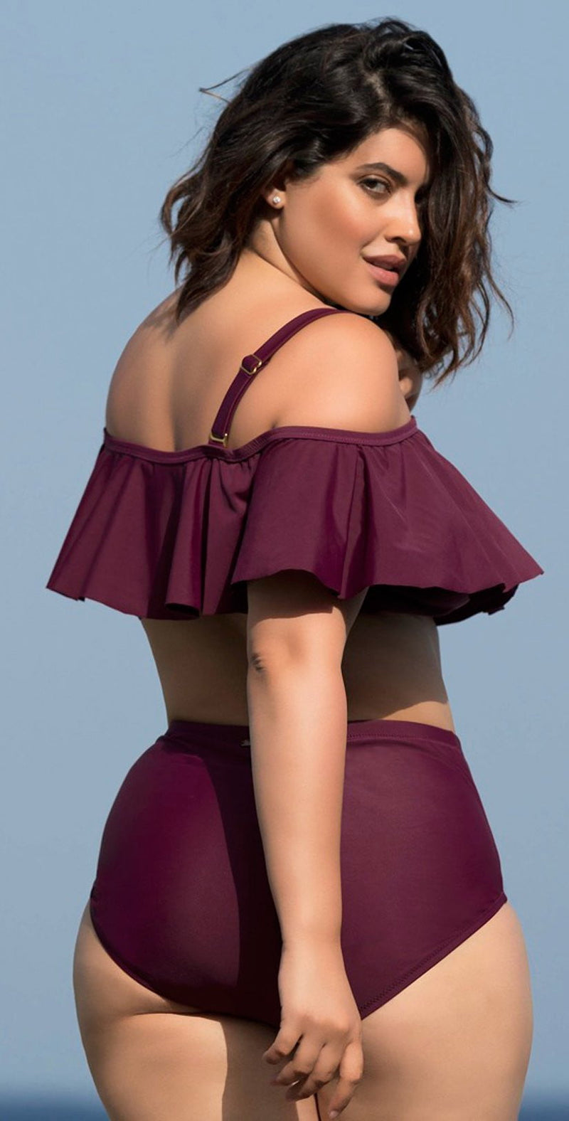 Raisins Curve Tortuga Flounce Top in Maroon Y840027-MAR: