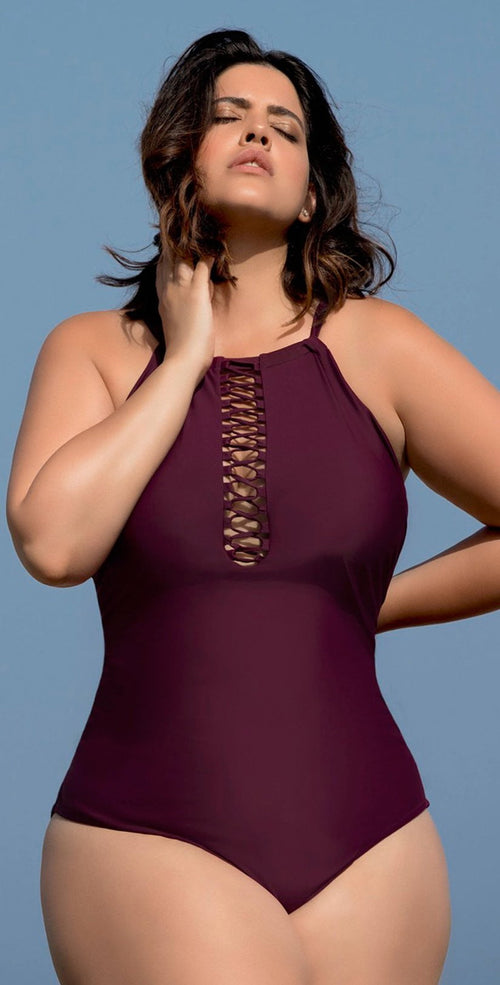 Raisins Curve Ola One Piece Swimsuit in Maroon Y840085-MAR: