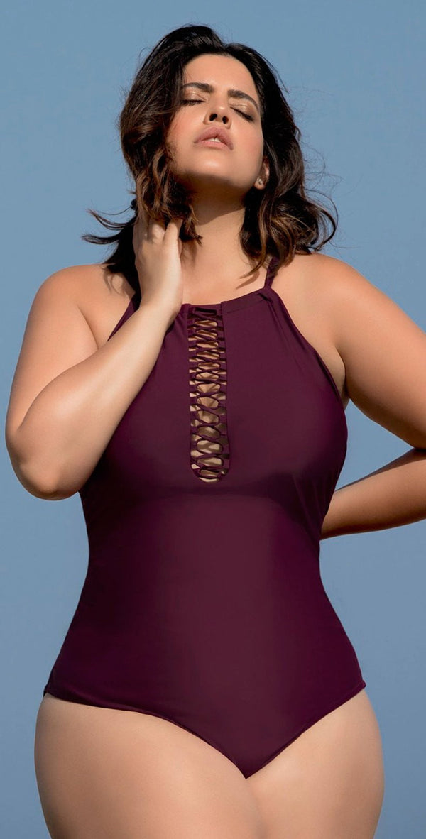 Raisins Curve Ola One Piece Swimsuit in Maroon Y840085-MAR