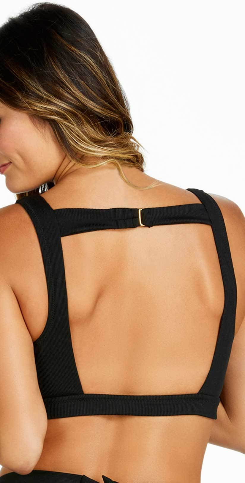 Raisins Ribbed Summer Halter Top in Black