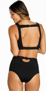 Raisins Ribbed Summer Halter Top in Black Y710282-BLK:
