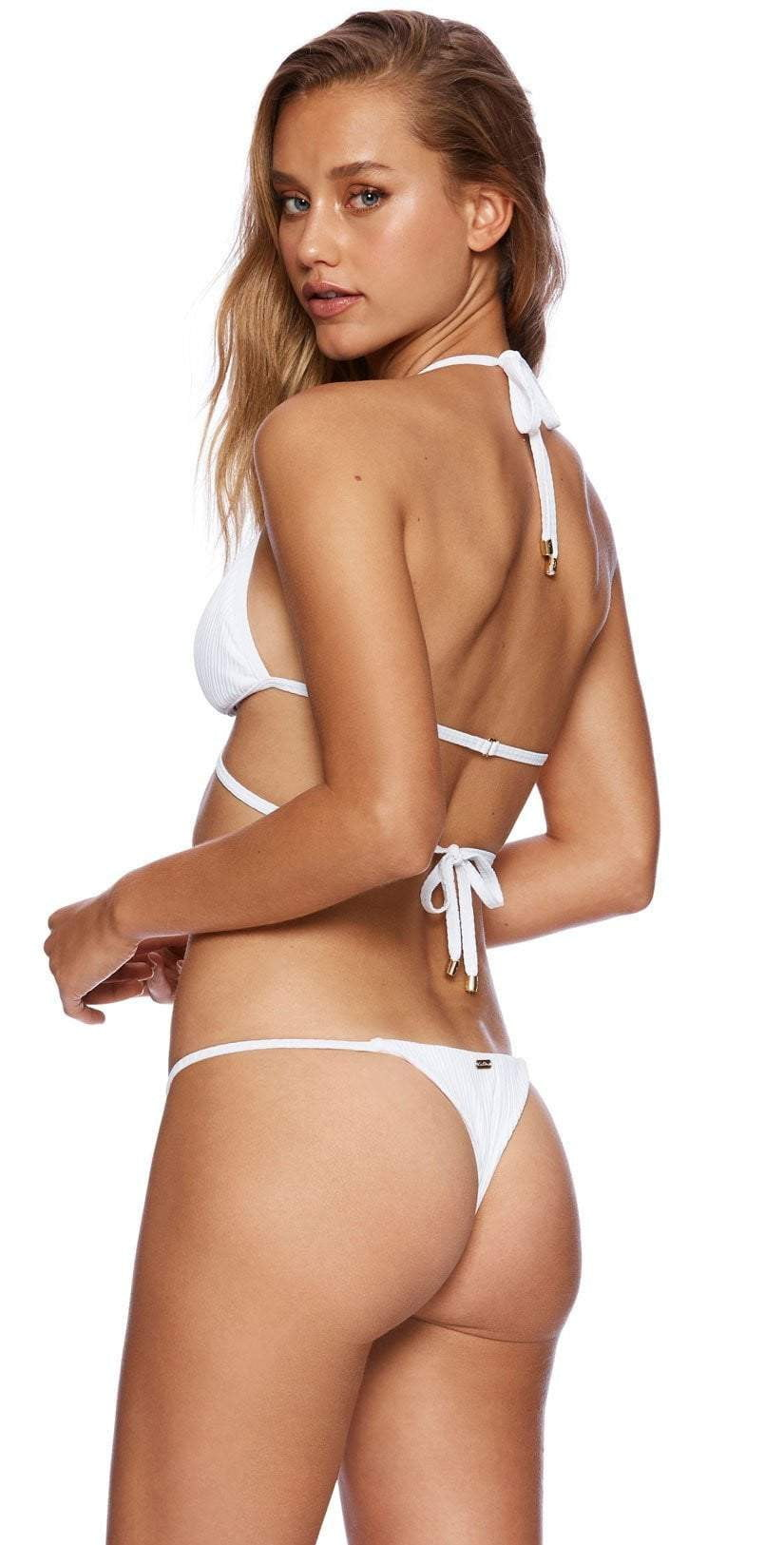 Beach Bunny Californiacation Renegade Wrap Bikini Top In White B19106T2 WHT: