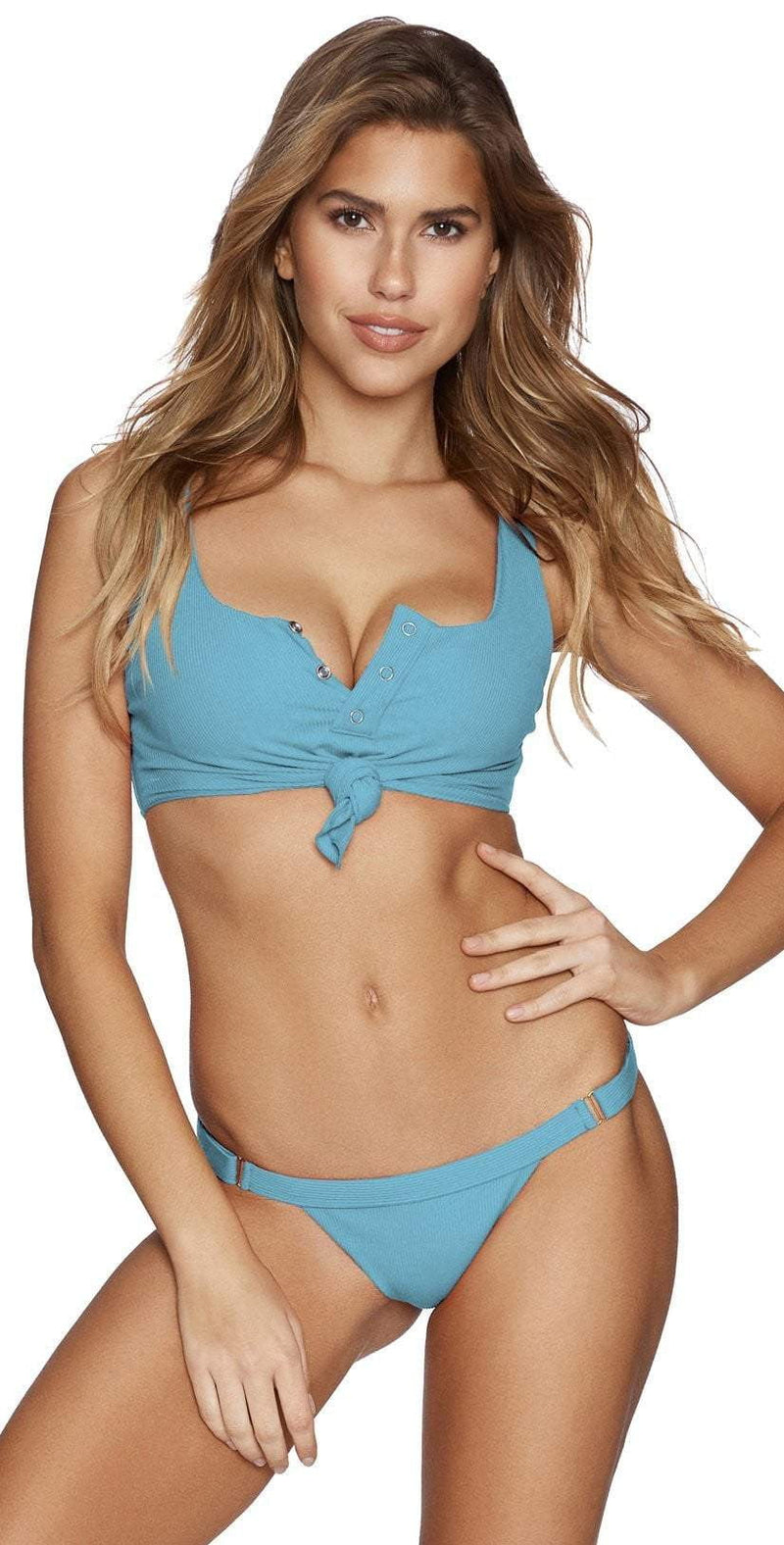 Beach Bunny Rib Tide Skimpy Bottom in Dusty Blue B17125B2-DSBL: