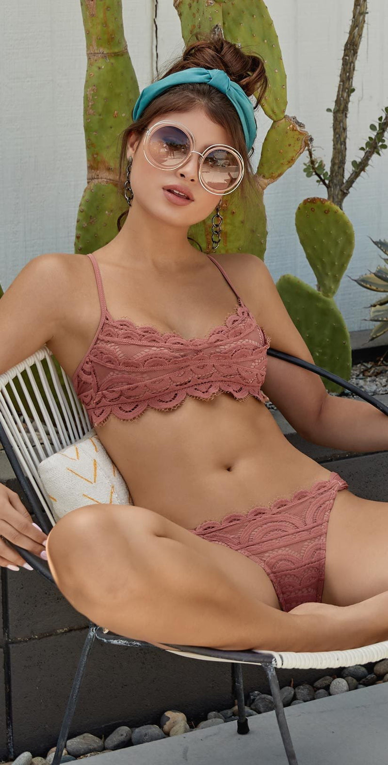 PilyQ Dusty Rose Lace Fanned Teeny Bottom DUS-251T: