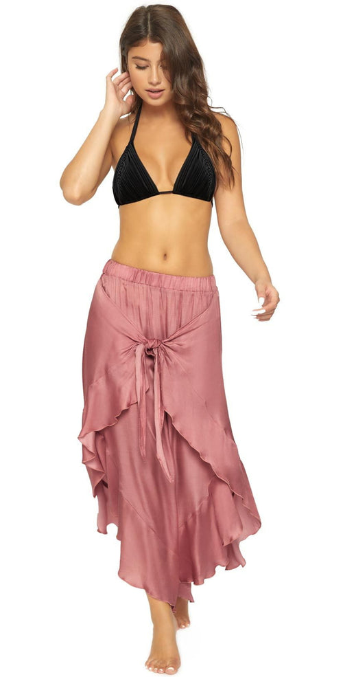 PilyQ Dusty Rose Ruffle Tie Pant DUS-983P front view