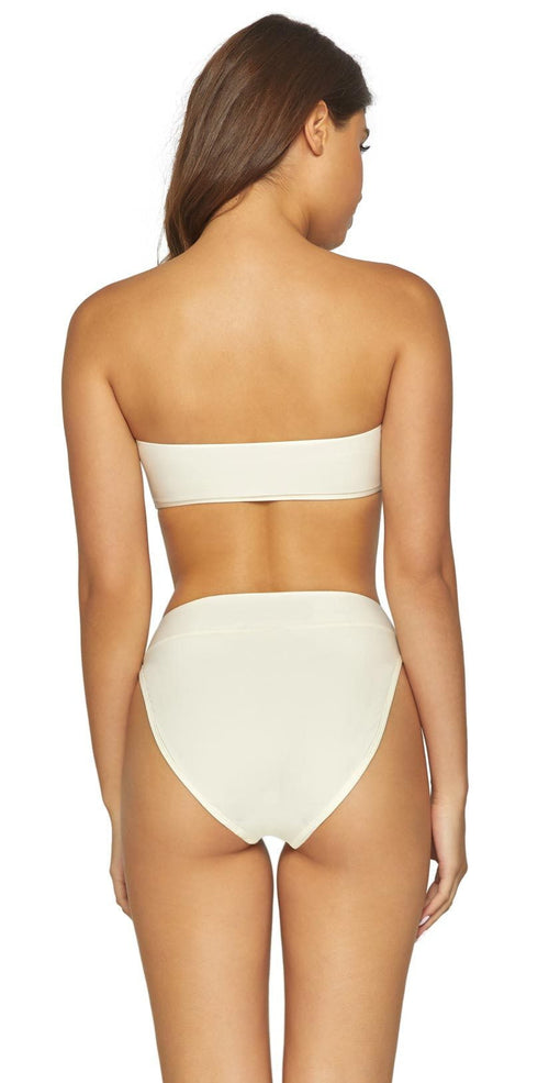 PilyQ Ivory High Waist Full Bottom IVO-244F back view