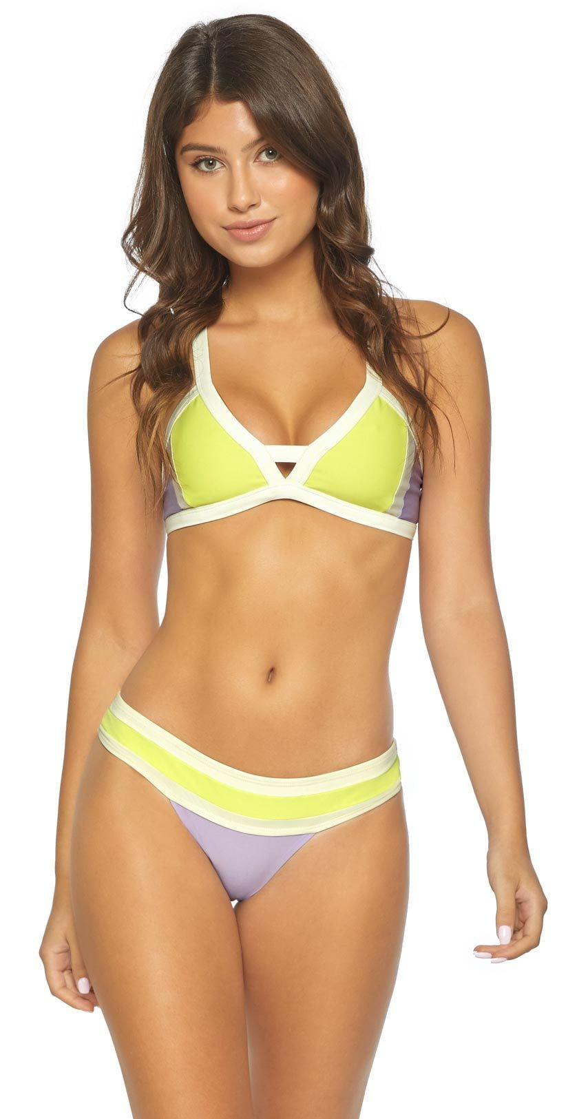 PilyQ Color Block Keyhole Halter Top in Lavender LAV-303H:
