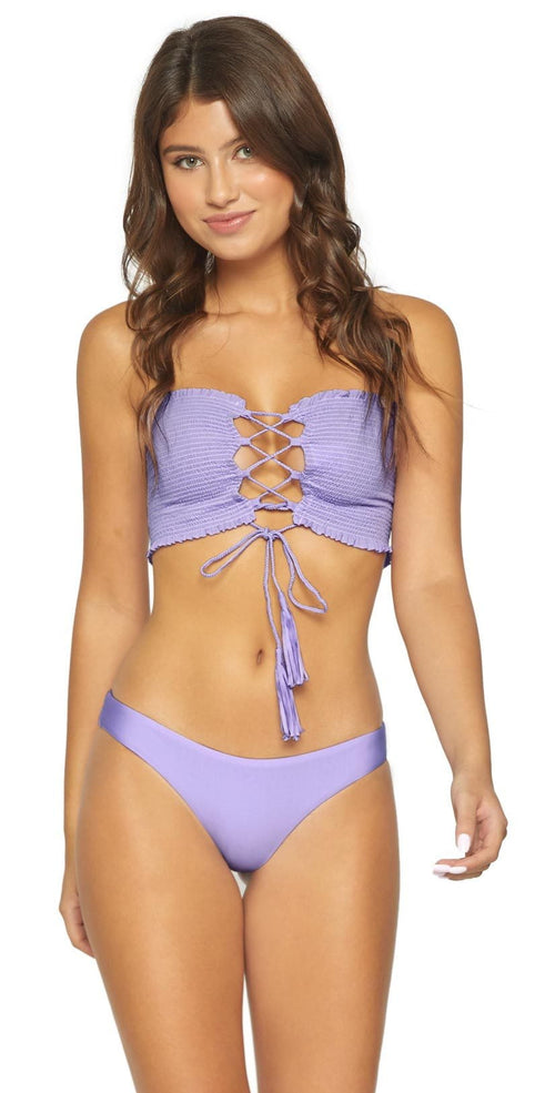 PilyQ Smocked Bandeau Bikini Top In Lavender LAV-304B front style 1