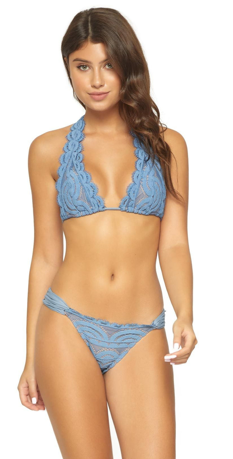 PilyQ Sky Blue Lace Fanned Full Bikini Bottom SKB-251F:
